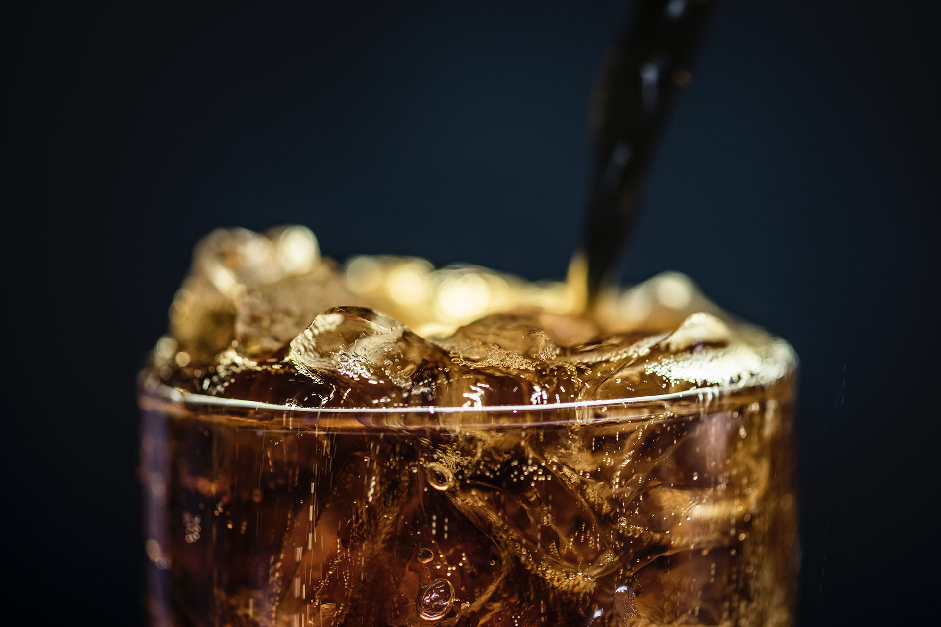 Close up of Coca Cola and Ice
